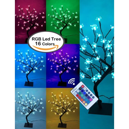 Lightshare 8 in. Cherry Blossom Bonsai Tree, 48 LED Lights, Warm White and Color-changing Modes The Cherry Blossom bonsai comes with 48 LED lights with 18 inches height, LED lights can be changed to different colors. Satisfy DIY need with the adjustable branches. You can bend the branches and the tree into any shape or more natural tree shape as you like. Build up exclusive tree light for yourself. This attractive appearance is ideal for indoor decoration or use as night, fits for table, bar, night light, both for summer and Christmas, every-day and holiday, always bring you the magic feeling.