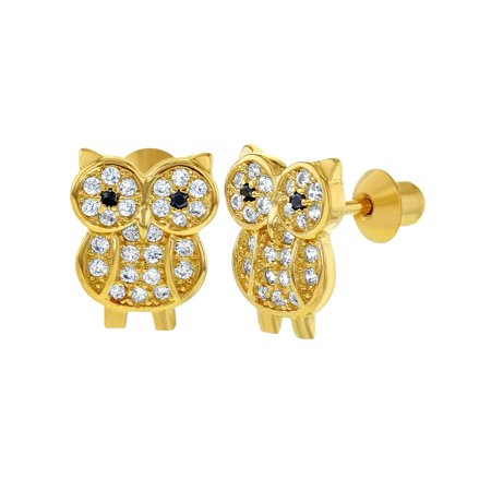 925 Sterling Silver Clear CZ Screw Back Owl Earrings Kids Girls Teens