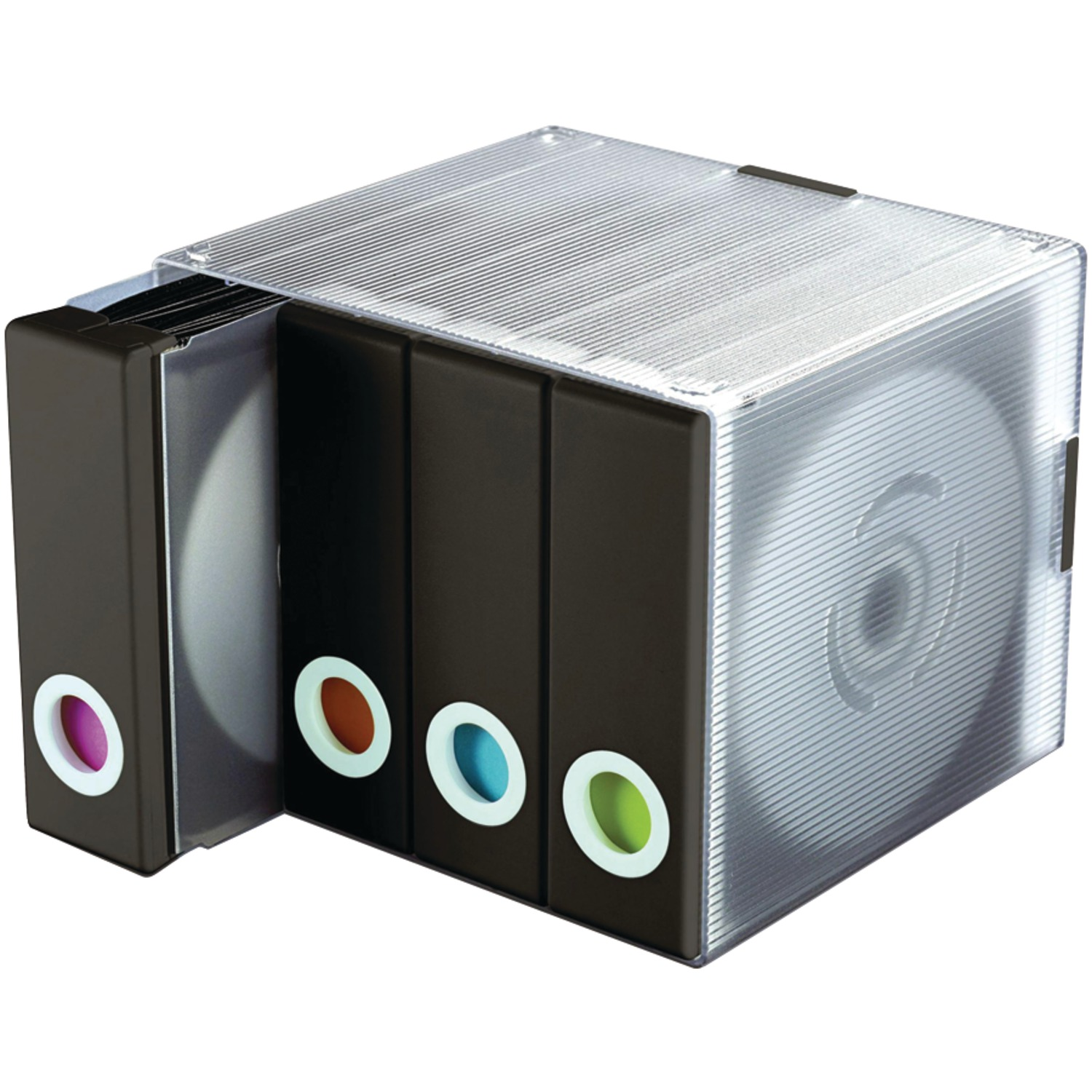 Atlantic Parade Stackable CD/ DVD Storage Organizer Cube (96 CDs/DVDs), Black