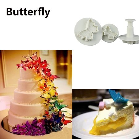 3Pcs Butterfly Flower Cake Fondant Cookie Decorating Plunger Mold