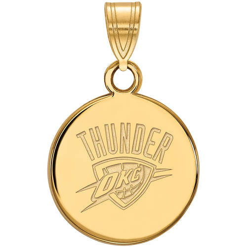 LogoArt NBA Oklahoma City Thunder 14kt Gold-Plated Sterling Silver Small Disc Pendant