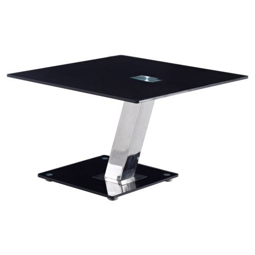 Global Furniture Square Stainless Steel End Table with Black Glass Top