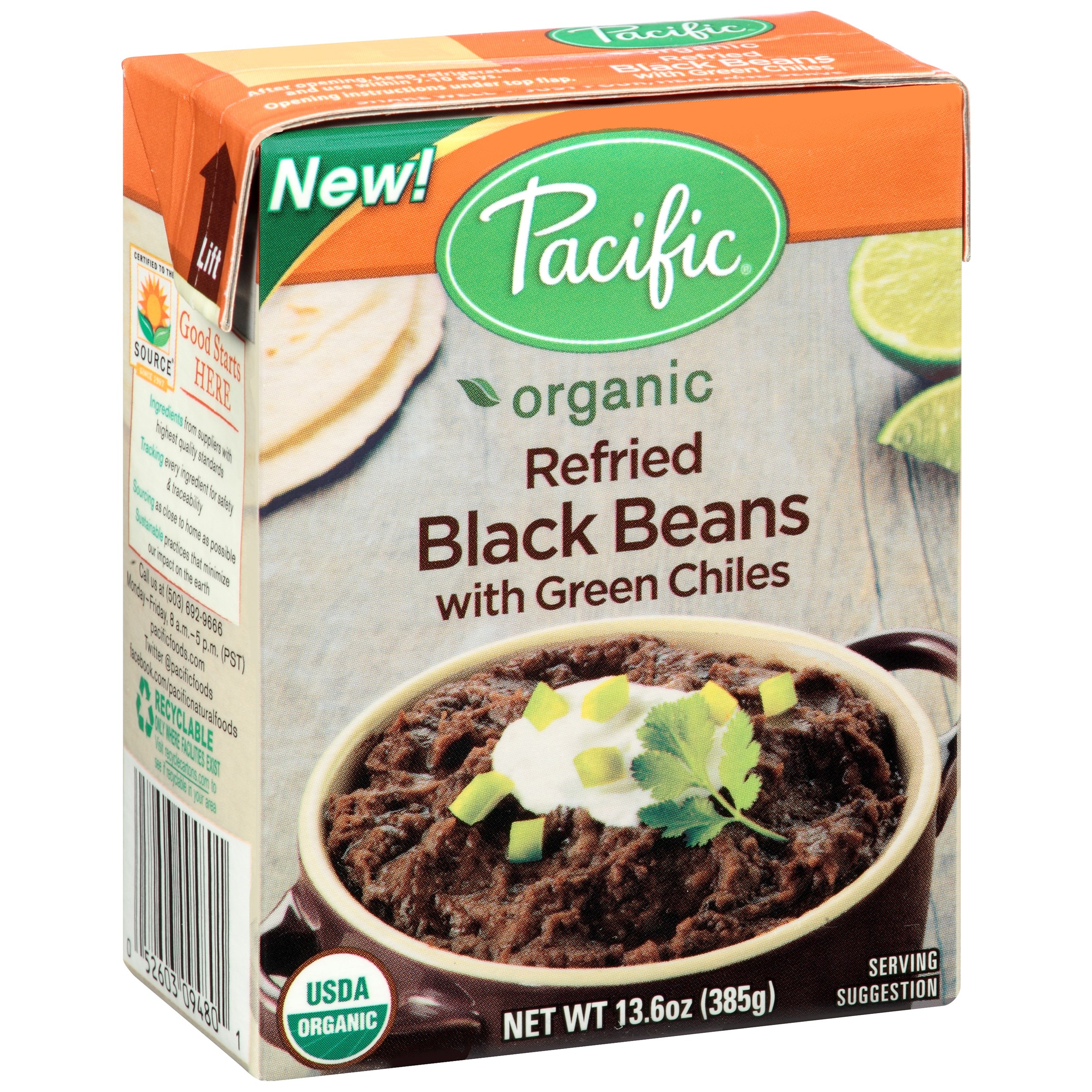 Pacific Foods Organic Refried Black Beans With Green Chilies, 13.6 Oz