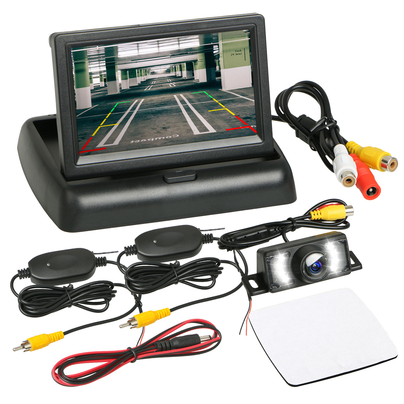"""IP68 Waterproof 120°C Wide Angle Car Backup Camera Rear View System Night Vision + Wireless 4.3"""" TFT LCD Monitor"""