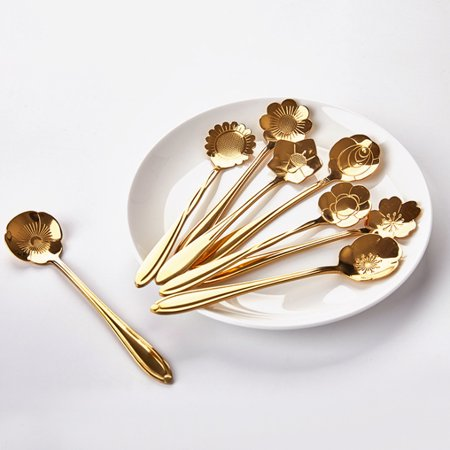 8Pcs Western Style Flower Shape Spoon Set Simple Coffee Tea Spoon Sugar Dessert Teaspoon Bar Cafe Tableware - Titanium Gold
