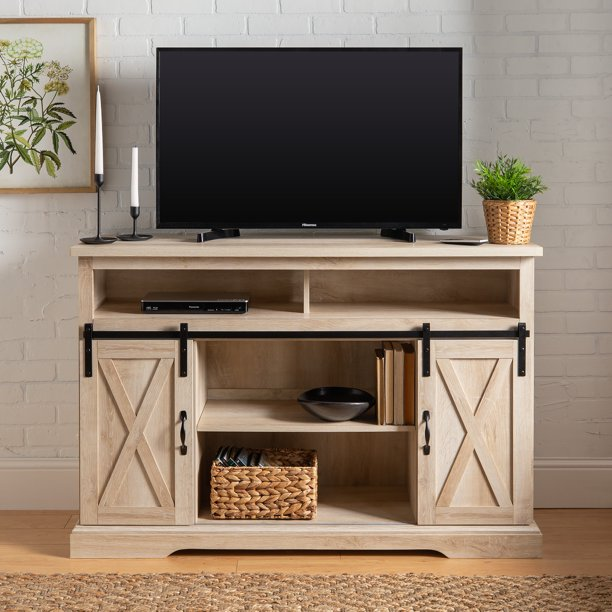 Manor Park Farmhouse Barn Door Oak Tv Stand For Tvs Up To 58 White Oak Walmart Com Walmart Com