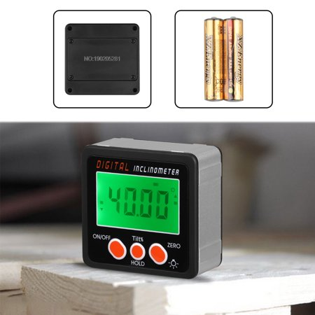 2-in 1 Magnetic Digital Level and Angle Finder / Inclinometer / Bevel Gauge,  Backlight LCD Protractor Inclinometer Bevel Box, IP54 Dust and Water Resistant