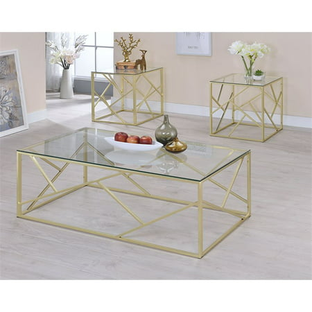 Furniture Of America Rosemeade 3 Piece Gl Top Coffee Table Set