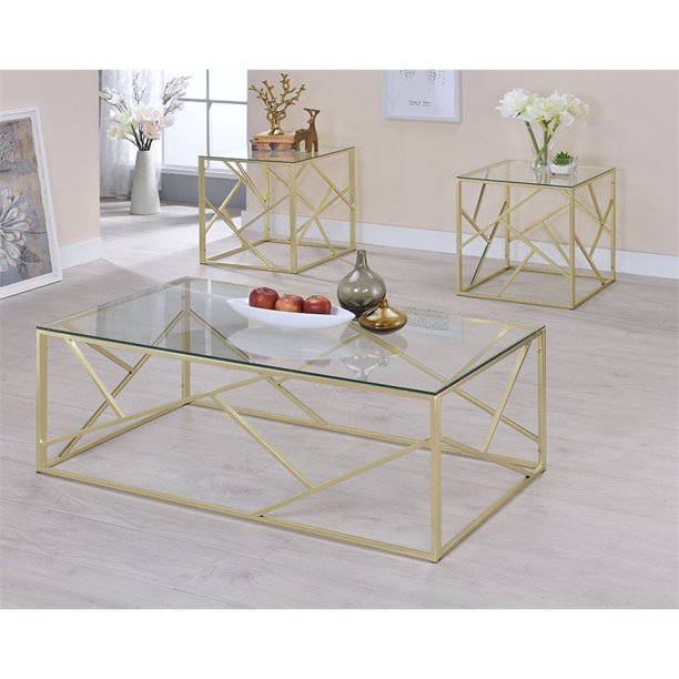 Furniture Of America Rosemeade 3 Piece, Glass Table Sets For Living Room