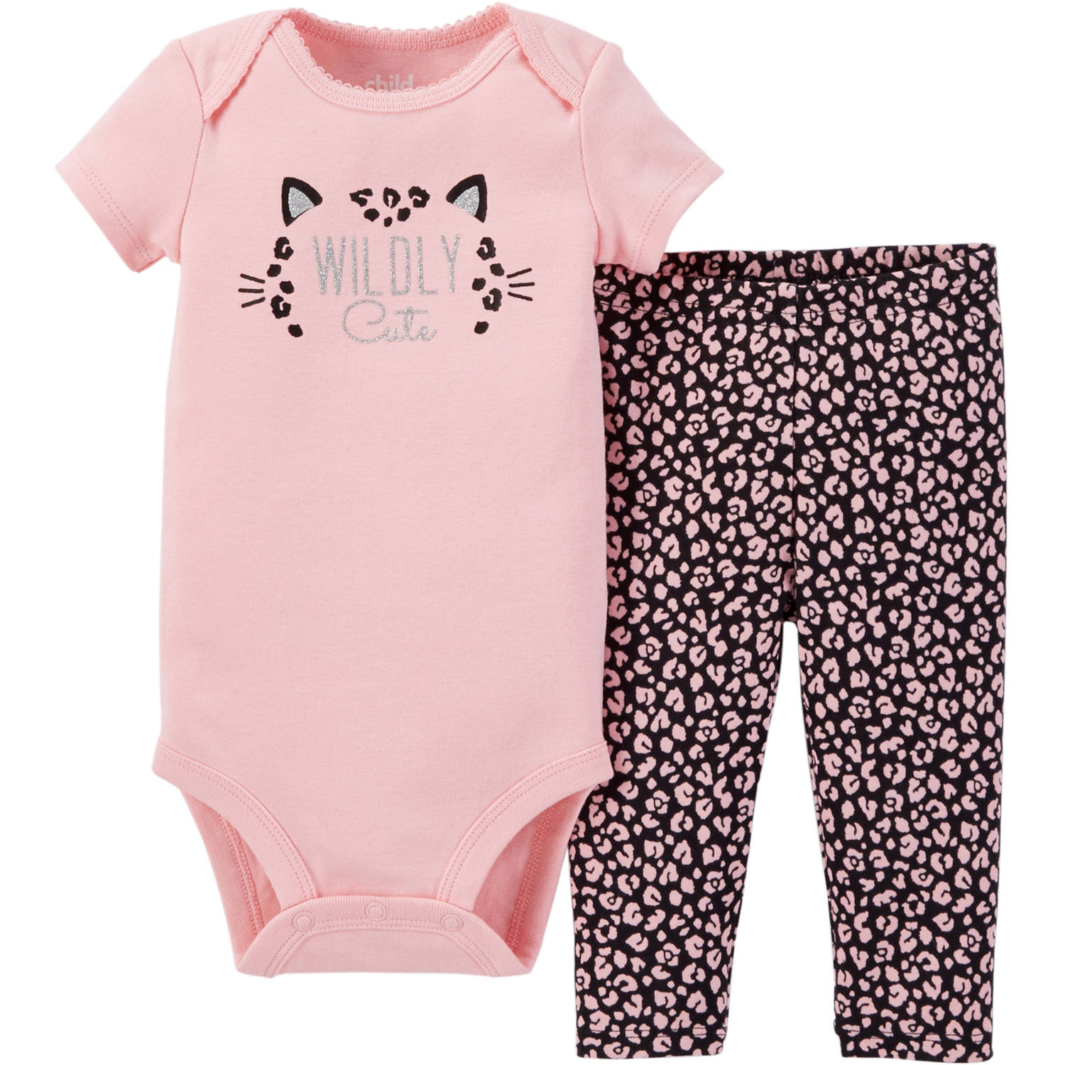 Child of Mine made by Carter's Newborn Baby Girls' Bodysuit and Pant Outfit Set 2 Pieces