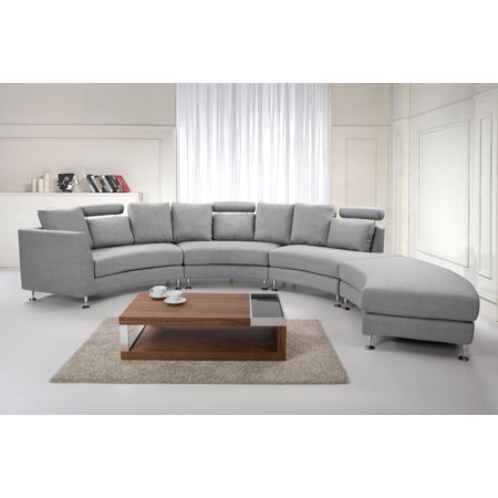Amazing Modern Curved Sectional Sofa With Chaise And Headrests Gray Fabric Rotunde Creativecarmelina Interior Chair Design Creativecarmelinacom