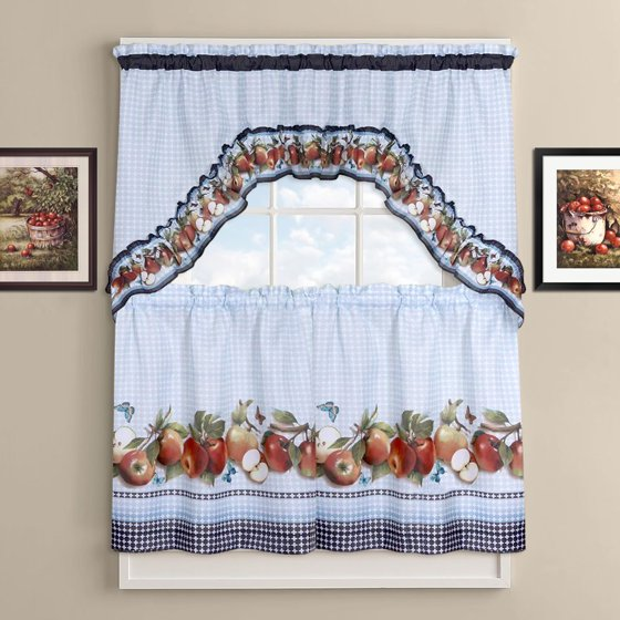 """Kitchen Curtain Fruit Swag: Golden Delicious Tier And Swag Kitchen Curtain Set 36""""L X"""