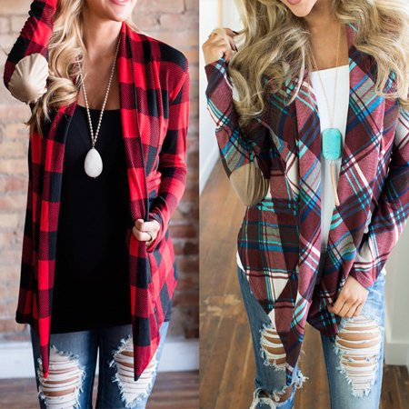 Womens Flannel Plaid Long Sleeve Shirts Casual Loose Cardigan Blouse Jacket - Long Flannel Skirt
