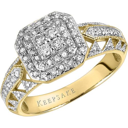 Keepsake Calista 3 8 Carat T.W. Certified Diamond 10kt Yellow Gold Engagement Ring by Frederick Goldman Inc.