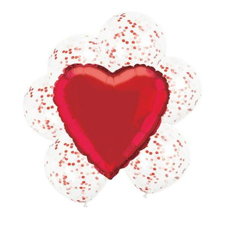 Confetti Heart Balloon Bouquet, Red, 7ct (Bouquet Heart Box)