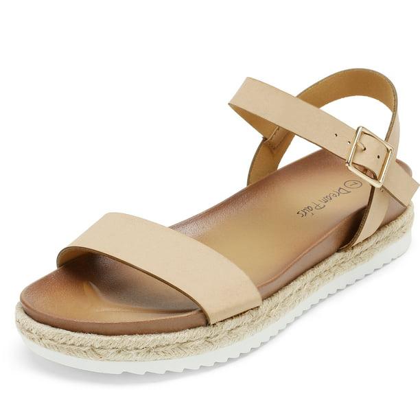 Tan PU Platform Wedges With Back Strap Espadrilles Sandals