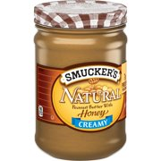(2 Pack) SmuckersCreamy Natural Peanut Butter With Honey, 16-Ounce