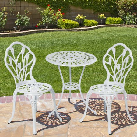 white chairs sets outdoor furniture for small spaces | Best Choice Products Cast Aluminum Patio Bistro Furniture ...