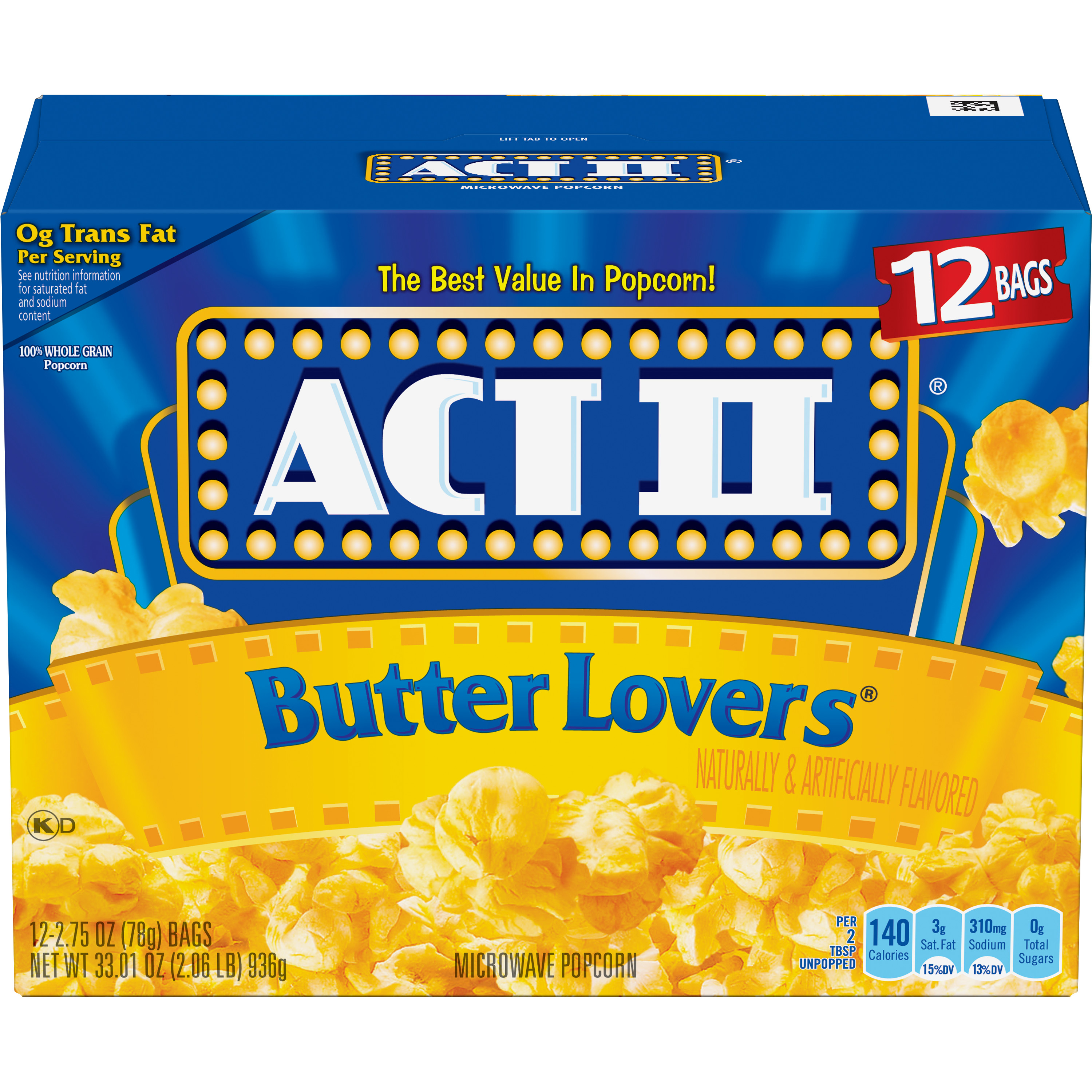 (3 Pack) ACT II Microwave Popcorn, Butter Lovers, 2.75 Oz, 12 Ct