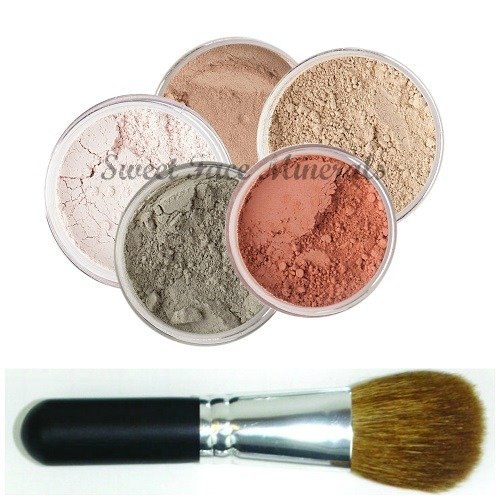 5 pc. KIT w/ FACE BRUSH Mineral Makeup Set Full Size Powder Bare Skin Foundation (Fair Shade 2)
