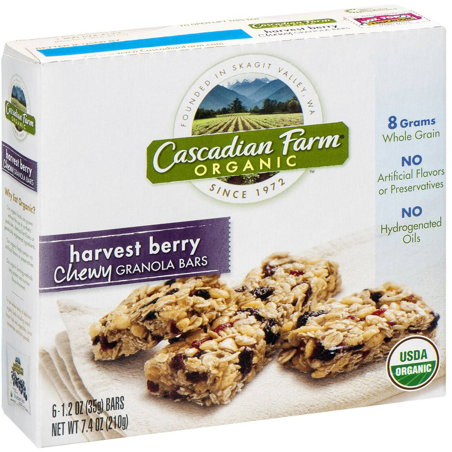 Cascadian Farm Harvest Berry Chewy Granola Bars, 1.2 oz, 6 count
