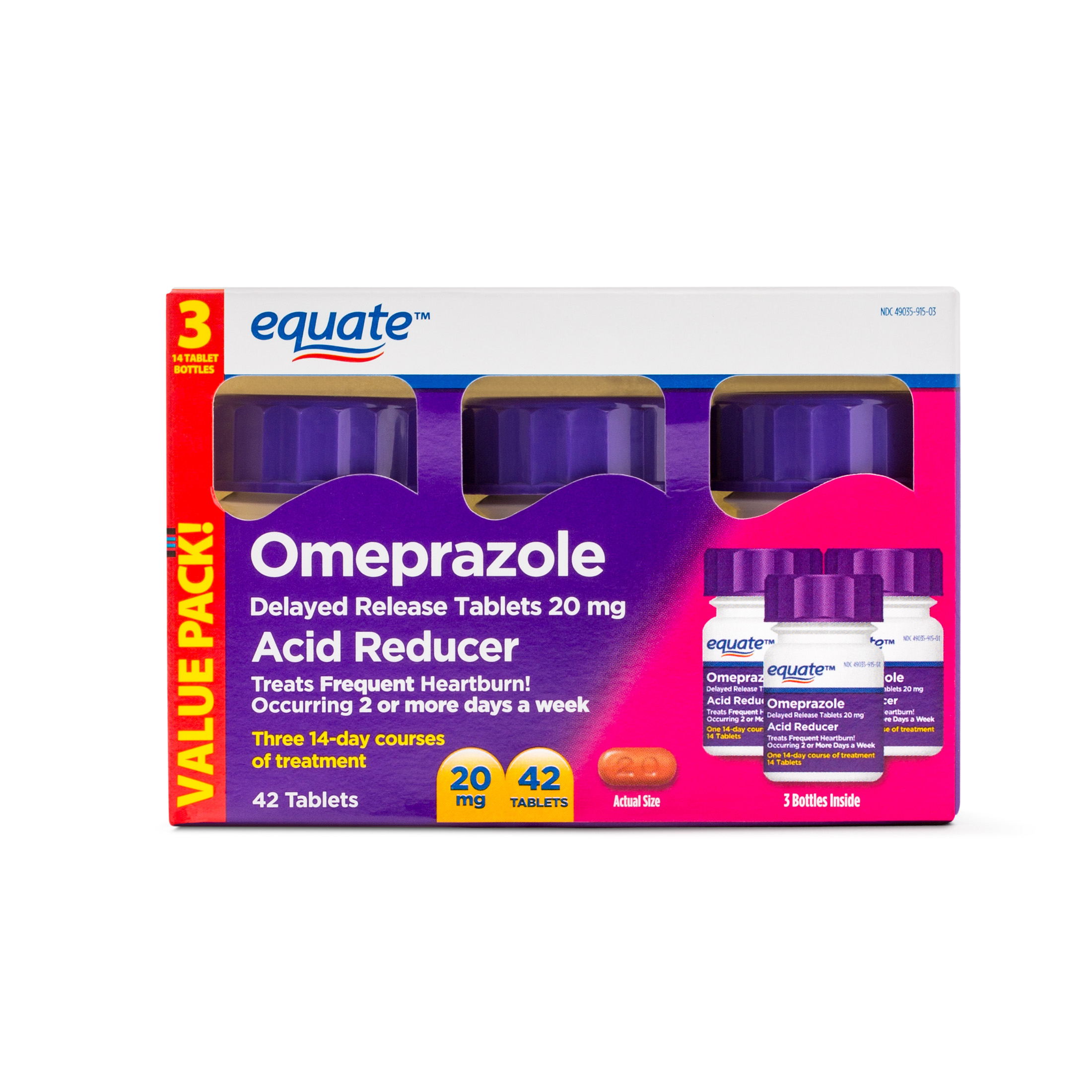 Equate Acid Reducer Omeprazole Delayed Release Tablets, 20 mg, 42 Ct, 3 Pk
