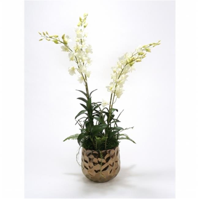 Distinctive Designs International 9858 White Orchids & Greenery Mix in Burnt Gold Gabi Planter