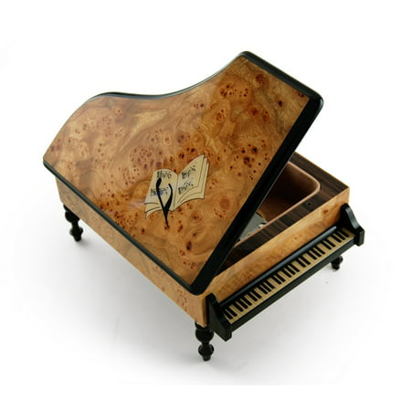 - Handcrafted 30 Note Italian Grand Piano Music Box with Sheet Music Inlay - I was Born to Love You
