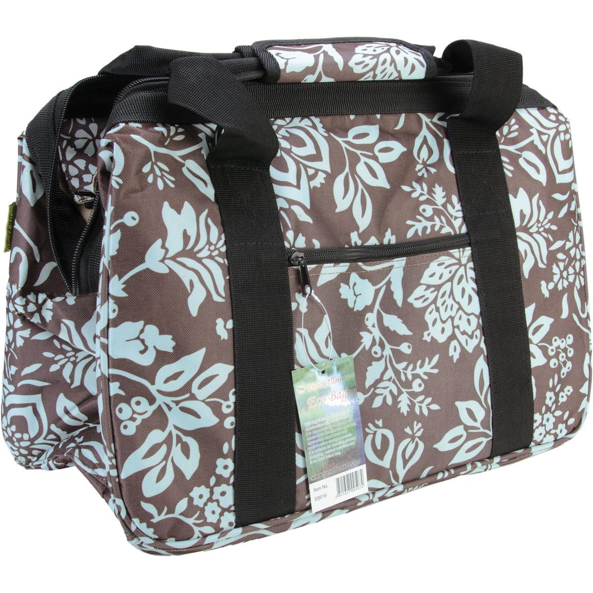 """JanetBasket Blue Floral Eco Bag, 18"""" x 10"""" x 12"""