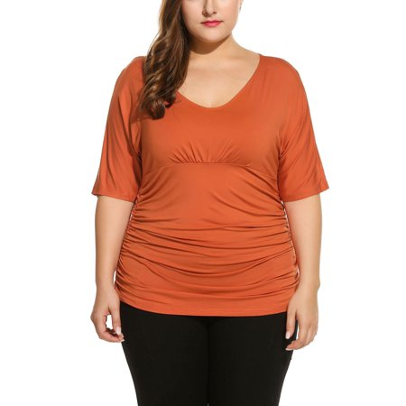 172e10244f9 Women T-Shirt Short Sleeve V Neck Pleated Waist Solid Plus Size T-Shirt  MAEHE - Walmart.com