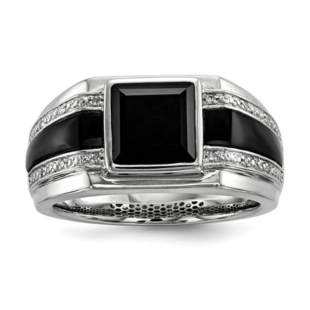 925 Sterling Silver Onyx and Diamond Ring for Men Size 11