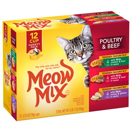 Meow Mix Tender Favorites Poultry & Beef Wet Cat Food Variety Pack, 2.75 oz.