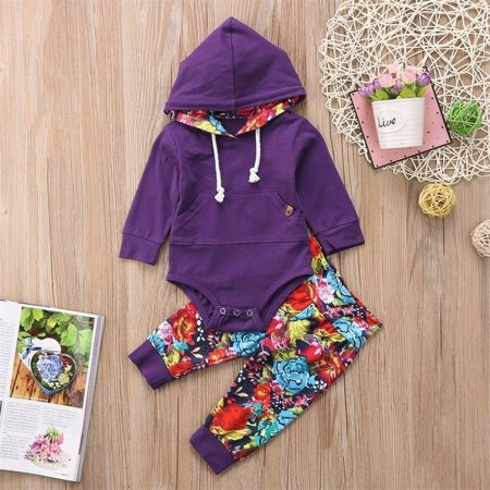 - Infant Newborn Baby Girl Clothes Long Sleeve Hoodie Tops+Long Pants Leggings 2Pcs Kids Outfit Set