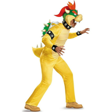 Super Mario Deluxe Adult Bowser Men's Plus Size Adult Halloween Costume, 2X - Plus Size Mens Costume