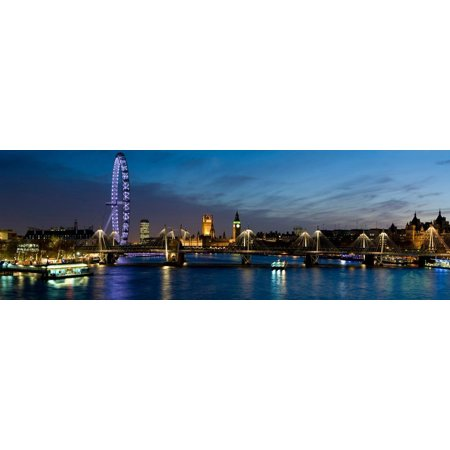 London Eye and Central London Skyline at Dusk, South Bank, Thames River, London, England Print Wall Art By Panoramic Images (River London)