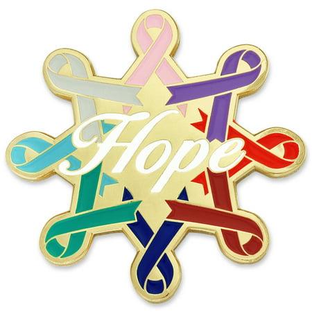 - Cancer Awareness Ribbons Hope Enamel Lapel Pin
