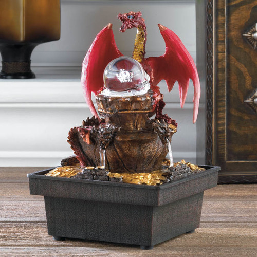 Zingz & Thingz Acrylic Red Dragon Tabletop Plastic Water Fountain with LED Light