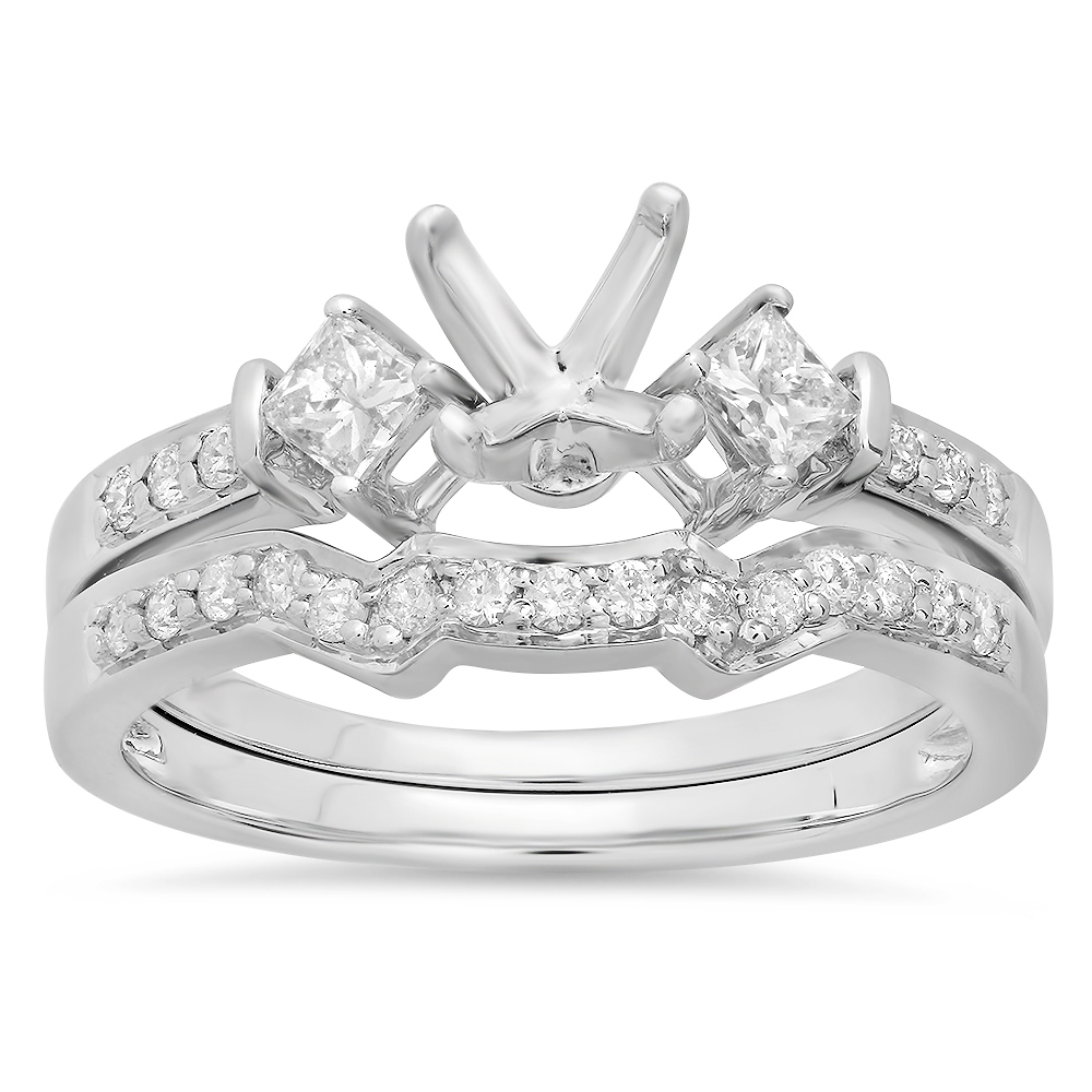 0.55 Carat (ctw) 14k White Gold Round & Princess Diamond Ladies Semi Mount Ring Set (No Center Stone)