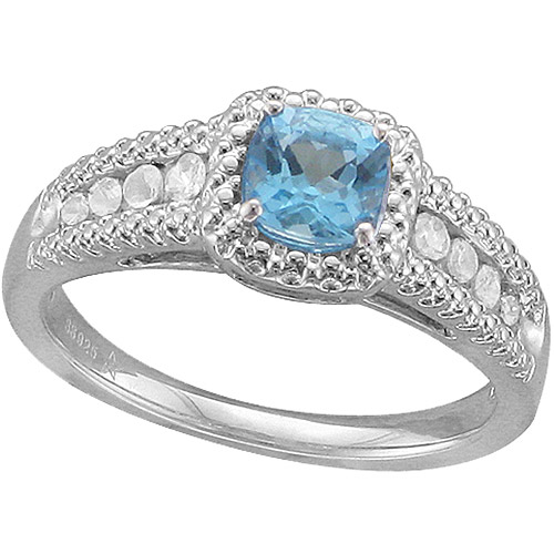 .93 Carat T.G.W. Cushion-Shaped Swiss Blue Topaz and White Sapphire Fashion Ring in Sterling Silver
