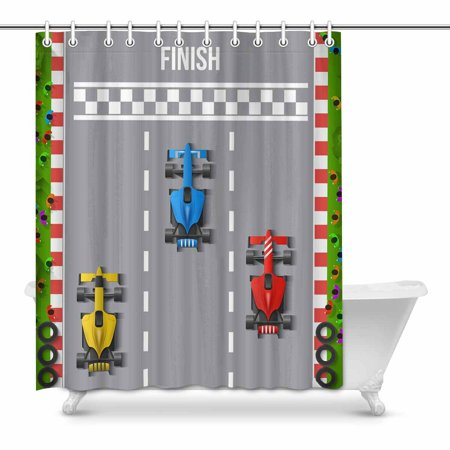 MKHERT Boy's Toy Cartoon Car Race Finish Top View Waterproof Shower Curtain Decor Fabric Bathroom Set 60x72 inch - Race Car Decor