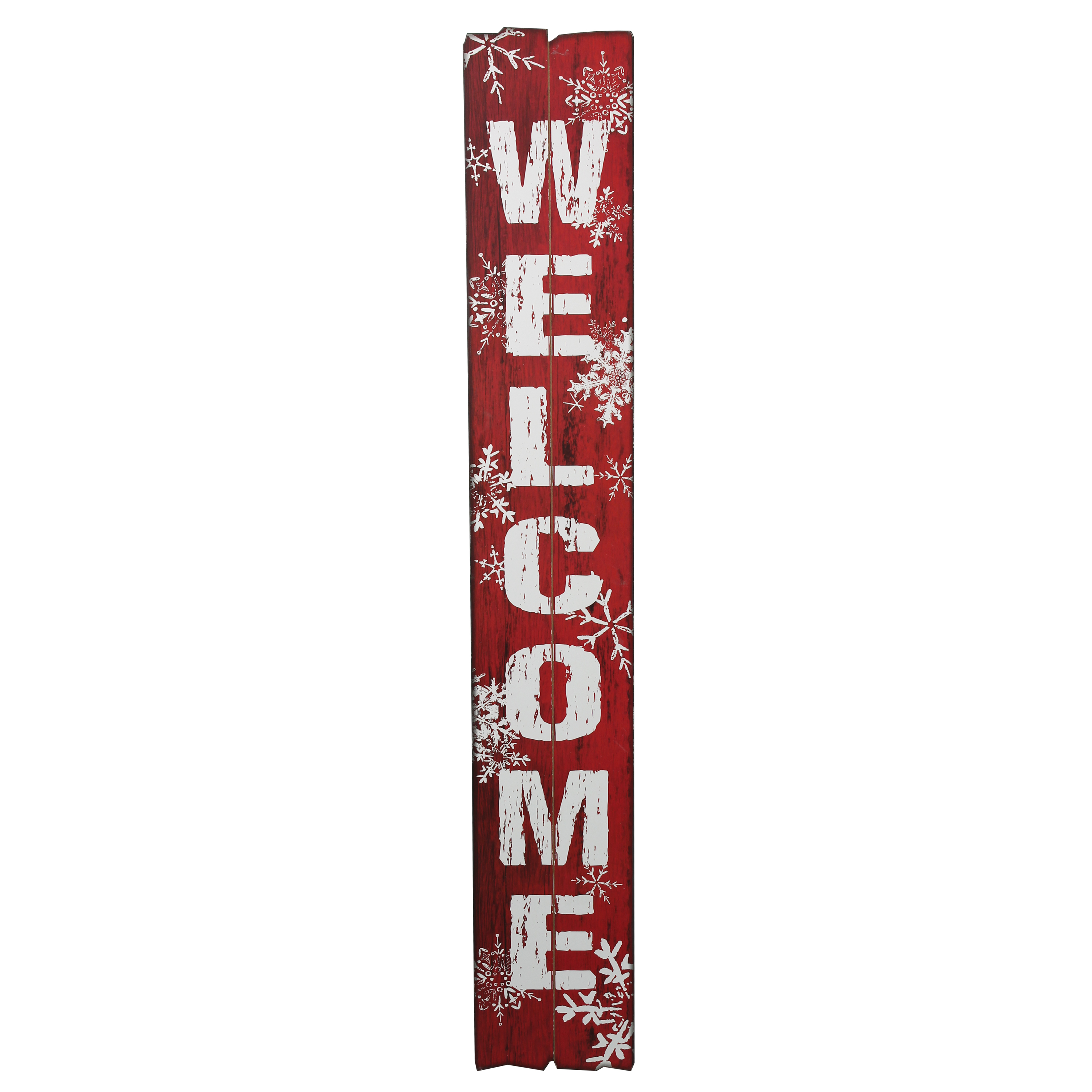 HOLIDAY TIME WELCOME DISTRESSED WOOD SIGN, 9.5 X 60 INCH
