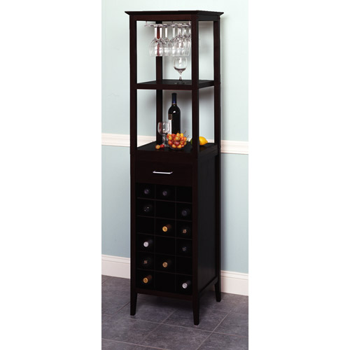 Winsome Wood Willis 18-Bottle Wine Tower With Rack and Shelves, Espresso Finish
