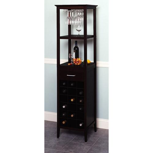 black wine cabinet. Winsome Wood Willis 18-Bottle Wine Tower With Rack And Shelves, Espresso Finish - Walmart.com Black Cabinet N