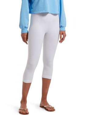 Hue Women's Play Reversible French Terry Capri, White, L/XL