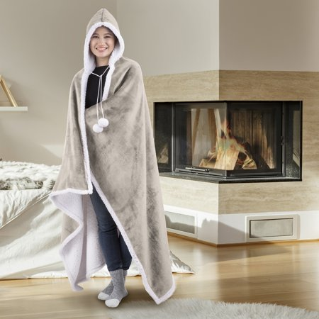 Hooded Blanket Throw Wearable Cuddle 100% Polyester Pumice Stone