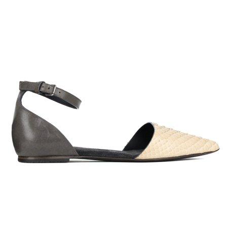 Brunello Cucinelli Women Grey Leather Python Embossed Sandals