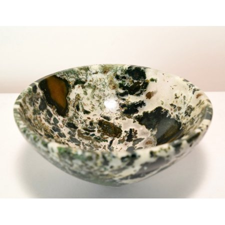 """3.25"""" Green White Yellow Agate Bowl Natural Sparkling Chalcedony Crystal Stunning Mineral Hand Polished Stone Cup - India"""