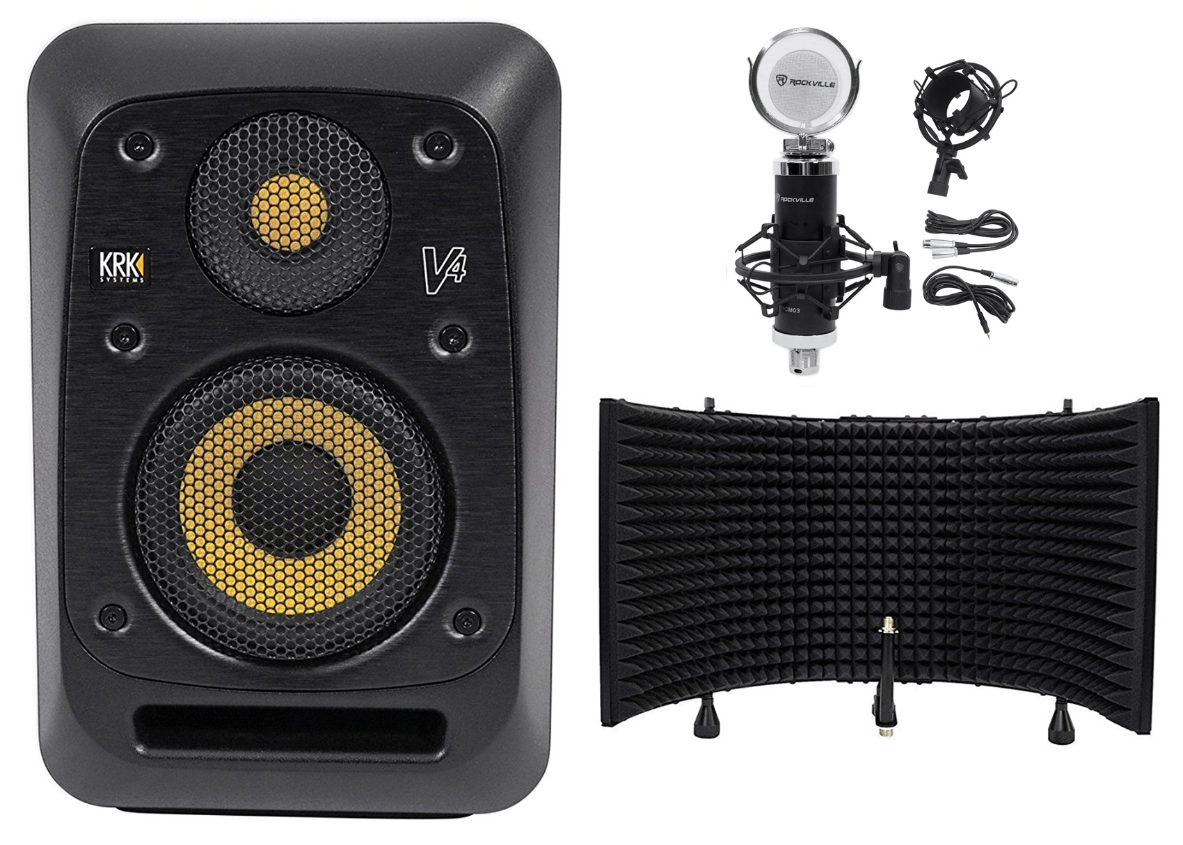 "KRK V4S4-NA 4"" Powered Studio Monitor + Condenser Microphone + Isolation Shield by KRK"