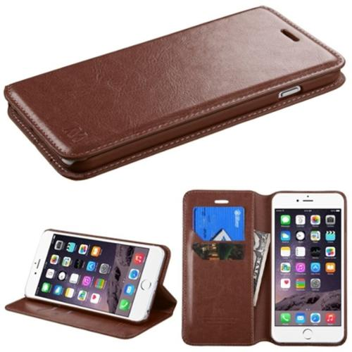"Insten Brown PU Leather Flip Card Wallet Stand Case For Apple iPhone 6 Plus / 6s Plus 5.5"" inch"