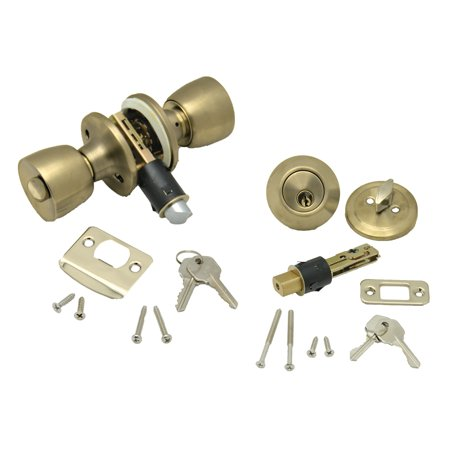 AP Products 013-234 Combo Lock Set with Knob Lock and Dead Bolt - Polished Brass
